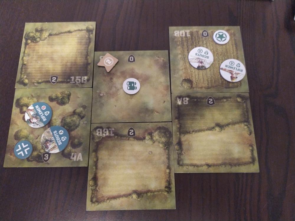 esempio di gioco con segnalini schierati nel campo di battaglia